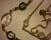 Crystal Clear- Czech Glass and Vintage Crystals on Gold Rope Chain, Double Tiered Necklace