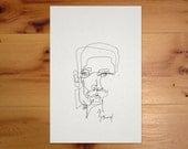 Custom Portrait - Original Blind Contour Ink Portrait Drawings - Aura Readings