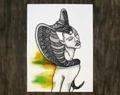Cobra Snake Headdress - Royal Totem Animal Headdress - Original Watercolor Painting