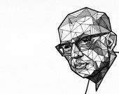 Custom Portrait Geometric  - 9x12 - Original Ink Drawing