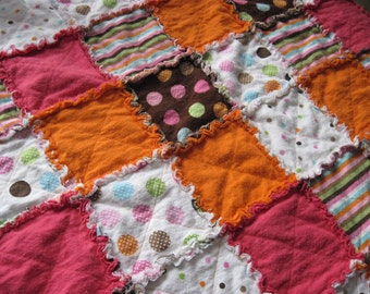 Dots & Stripes Rag Quilt