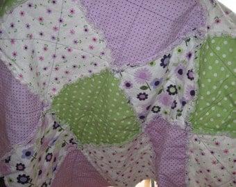 Purple and Green Flower Garden Quilt