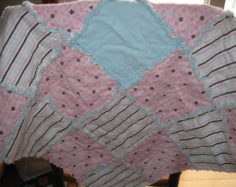 Pink and Blue Rag Quilt