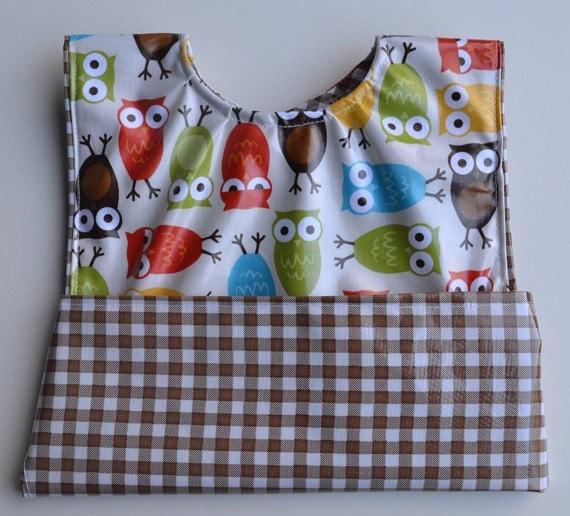 Wipeable Pocket Bib - Brown Owls