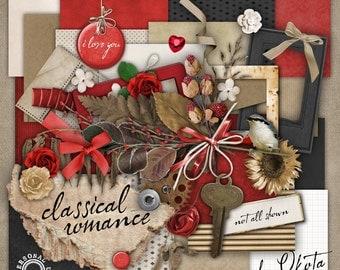 Digital Scrapbook Kit - Classical Romance- over 100 items