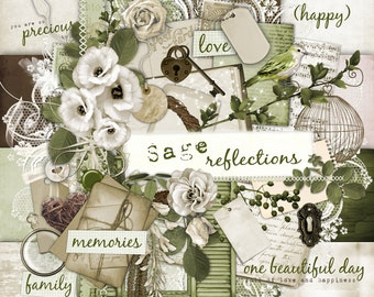Sage Reflections- Digital Scrapbook Kit
