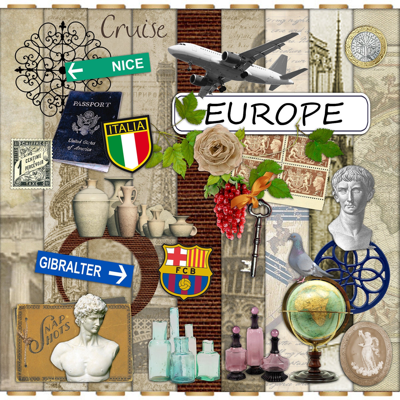 Digital Scrapbook Kit Europe Vacation Travel Huge Mega