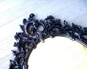 Large Vintage Gothic Wall mirror - black oval frame  / vampire noir romance / restored recycled
