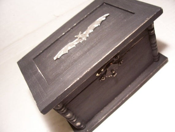 Vampire Bat Jewelry  box / wood hinged coffin/  stash trinket gothic gift