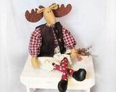 Handmade Rustic Moose Doll - Waomi the Rustic Moose