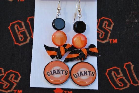 SF Giants button earrings