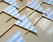 Little flags pale blue and white stripe cupcake toppers / party picks, Vintage circus, Carnival, birthday, baby shower party decor.