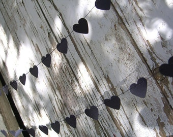 Black of Hearts paper garland - 10 foot (3 metres) Wedding, Engagement, housewarming, party home decor, photo prop