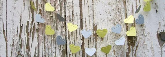 Sweetheart paper garland - 1.5 metre (4.9 ft) Soft Lemon and Grey