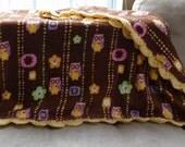 Crochet Edge Fleece Blanket - Owls and Flowers