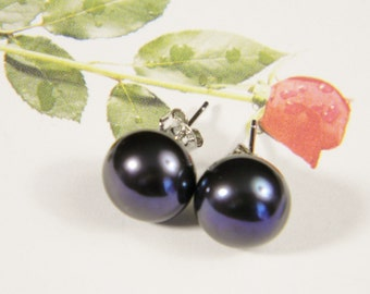 Freshwater Pearl Earrings Large Black Freshwater Pearl Sterling Silver Stud Earrings AAA++ Purple Overtone 10.2 mm Anniversary Birthday Gift