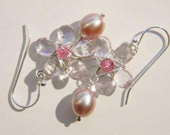 Natural Gemstone Flower Freshwater Pearl Earrings: Pink Flower Violet Amethyst Briolette, Silver Beige Pearl, Sterling Silver, Wire Wrapped