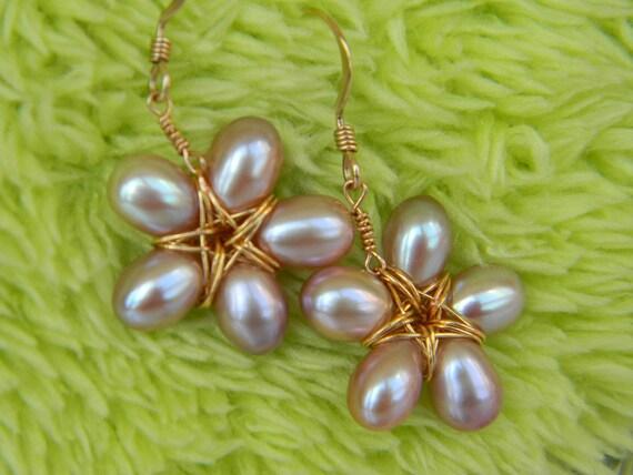 Natural Freshwater Pearl Flower Earrings: AAA Blush Pink Violet Cultured Pearls Gold Filled Dangle Earrings Handmade