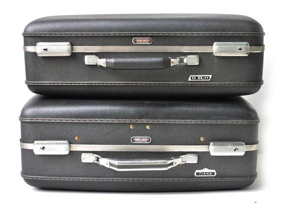 Vintage suitcase luggage black American Tourister Tiara