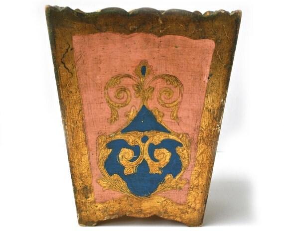 Italian Florentine Basket Wood Trash Box Vintage Antique Gold Pink and Blue