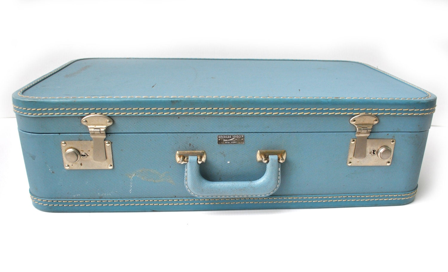Vintage suitcase luggage blue old antique american voyager new - Vintage suitcase ...