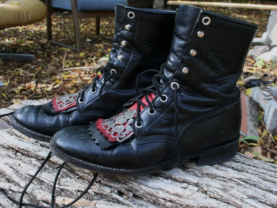 BLACK JUSTIN lace up boots w/red FRINGE and metal detailing