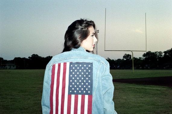 VIntage 90's American Flag Denim Jacket