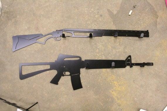 M16 Rifle or Shotgun Wall Coat or Hat Rack - Metal Gun Wall Rack