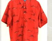SALE Rad shark print button up shirt