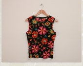90's sheer flower power tank.
