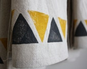 Tribal Inspired Dish Towels, Ochre and Charcoal, Set of 2