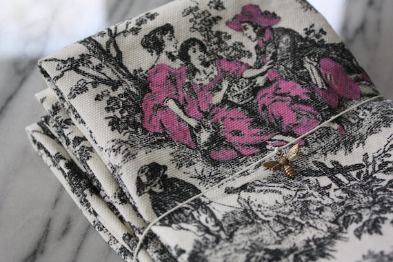 Black and White Toile Napkins with Pink Accents, Set of 4