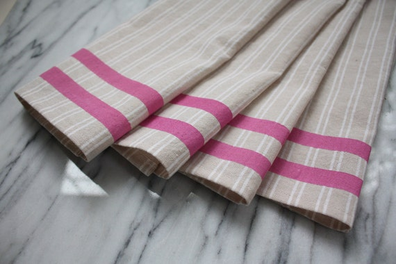 French Stripe Napkins, Natural with Pink, Set of 4