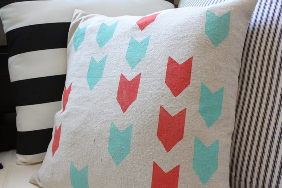 Chevron Pillow Cover, Poppy and Turquoise