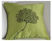 decorative Pillow 16 X 16 - Green Silk Pillow