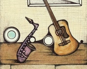 Illustration of Saxophone and Guitar, Musical Instruments Drawing, Fun Music Poster, Sax and Axe Fine Art Print