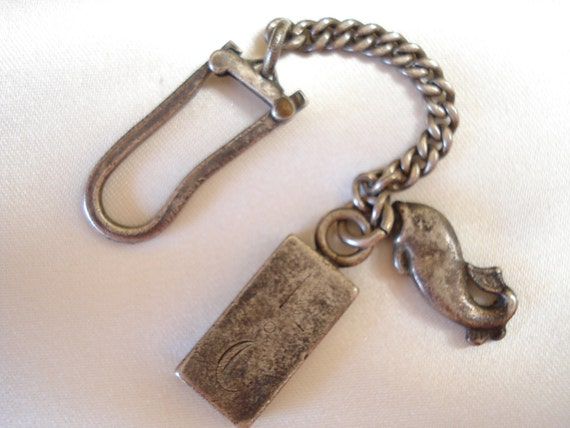 Fish and Initial key ring vintage pewter