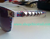 Studded Sunglasses Tribal Aztec Print You Choose: Silver OR Gold Studs