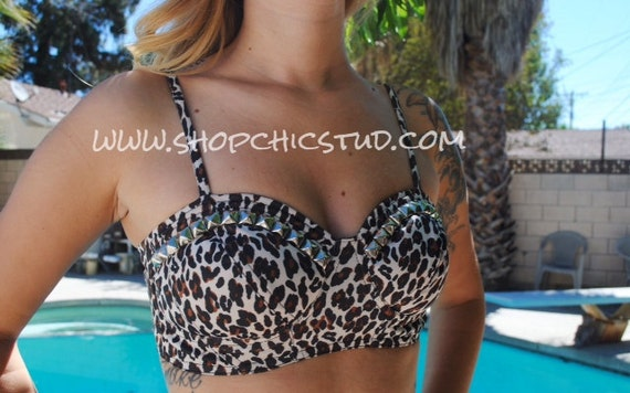 Studded Bikini Top SMALL Bustier Style Leopard Silver Studs
