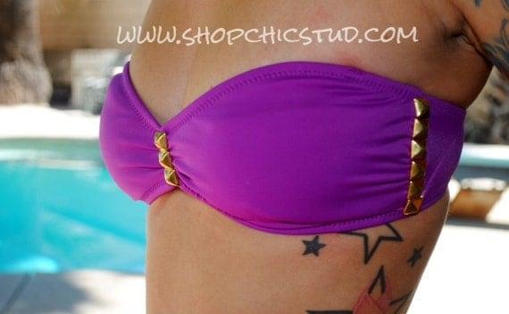 Studded Bikini SMALL Bandeau Purple Gold Studs