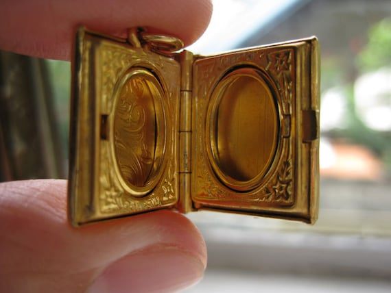 Tiny Vintage Gold Book Locket with Scroll Design