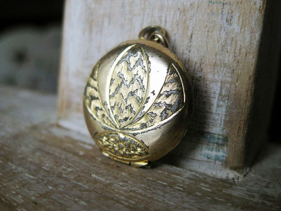Tiny Gold Locket with Orchid Design- Vintage