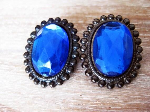 Blue Rhinestone Clip on Earrings- Vintage 1980s