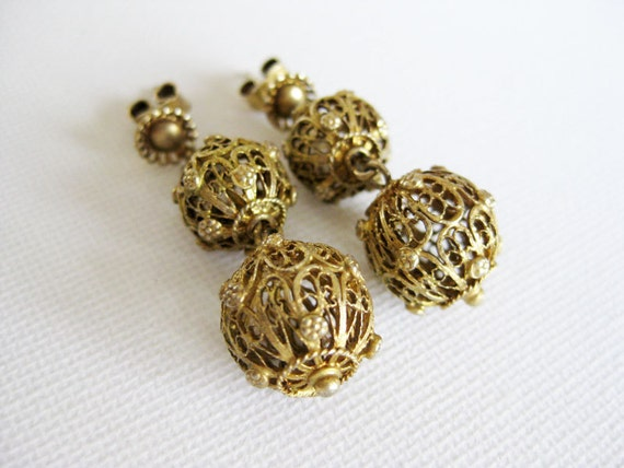 HOT DEAL Antique Philippine Tambourine Earrings- Silver Dipped in Gold