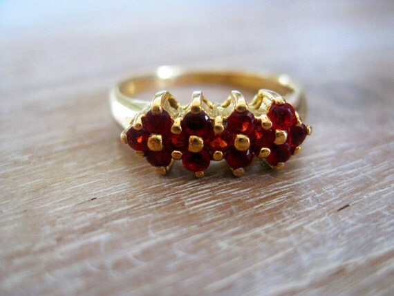 Vintage Gold Tone Ring with Red Stones