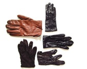 15% off SALE 5 Pairs of 1950s Women's Gloves / X Small / Genuine Leather / Cashmere, Angora, Silk Lined / Saks Fifth Avenue / Fair Condition