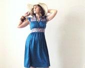 1970s Gunne Sax Style Dress / Prairie Dress / Boho / Bohemian / Teal, Sapphire Blue / Floral Print / Size Small