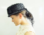 1960s 60s Black Raffia Hat / 1960s Straw Hat / Straw Hat with Netting / Cascading Mesh