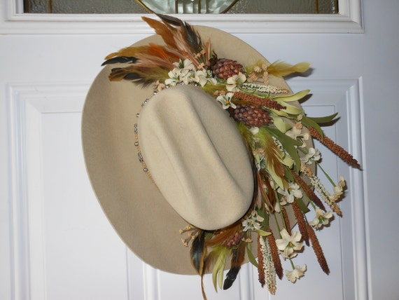 Decorated Cowboy Hat Wall Hanging / Flower & Feather Cowboy Hat Arrangement
