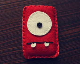 Felt Monster Phone or iPod Sock/Cover by BABUA - Red with 2 Teeth
